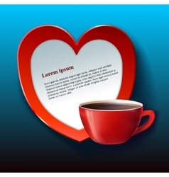Banner for valentine red heart and tea vector