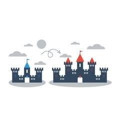 Big small castle comparison concept vector