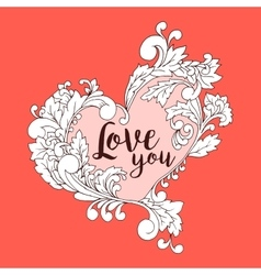 Boho style original heart frame with space vector image