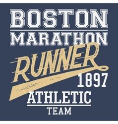 Boston Marathon runner t-shirt vector image vector image