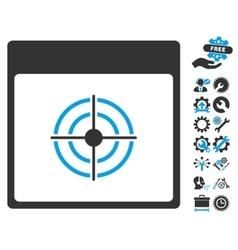 Bullseye calendar page icon with bonus vector