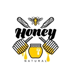 Hand-drawn dipper logo for honey products vector