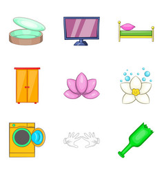 Home cleaning service icon set cartoon style vector