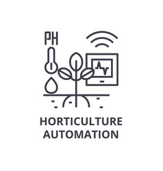 Horticulture automation line icon outline sign vector