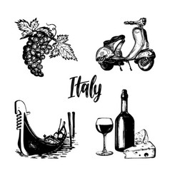 italian set of sketches hand drawn vector image vector image