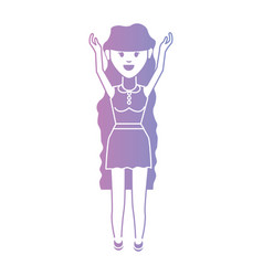 line woman with hairstyle and clothes design vector image vector image