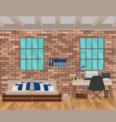 Living room interior in hipster style with brick vector