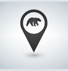 map pin pointer bear icon vector image