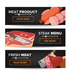 meat product horizontal promo banners beef vector image vector image