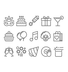 party and birthday line icon vector image vector image