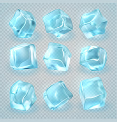 realistic 3d ice cubes isolated on transparent vector image