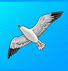 sea gull bird pop art style vector image vector image