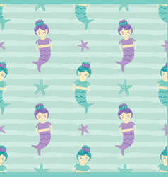 seamless pattern background with mermaid girls vector image vector image