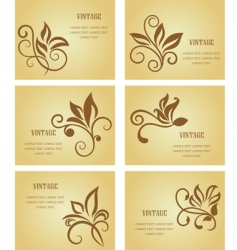 set of vintage cards vector image vector image