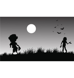 Silhouette of zombie halloween with gray vector image vector image
