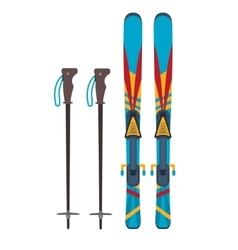 Ski and sticks vector