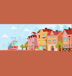 Sunny historical city street old city banner with vector