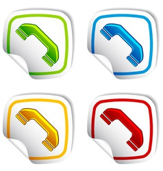 Telephone receiver stickers vector
