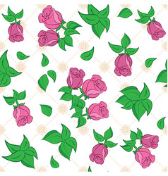 White seamless pattern with red roses vector