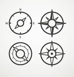 Wind rose and compass retro design collection vector