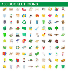 100 booklet icons set cartoon style vector
