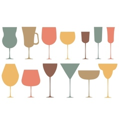 Set of black alcoholic glass vector image