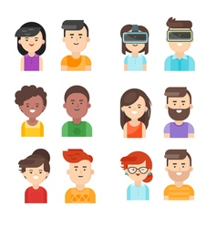 Flat style set of people icons vector
