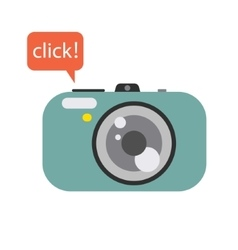 Photo digital camera with click speech bubble vector