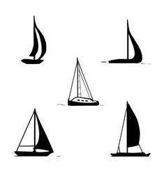 Ocean transport set sailing boats yacht motor boat vector