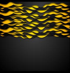Contrast orange black corporate wavy background vector