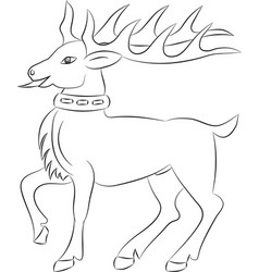 Cartoon deer contour on white background vector
