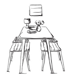 Furniture in the kitchen chair and table sketch vector