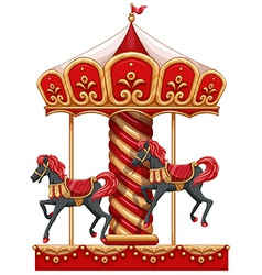 A carousel ride with horses vector