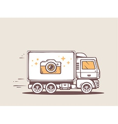 Truck free and fast delivering photo came vector