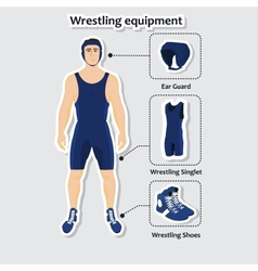 Set of wrestling equipment with man vector