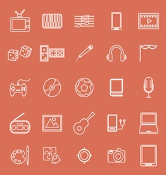Entertainment line icons on orange background vector
