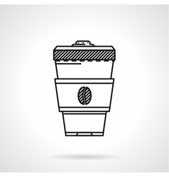 Coffee cup black line icon vector