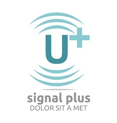Logo signal letter u plus blue alphabet wireless vector