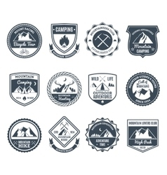 Mountain adventure emblems black vector