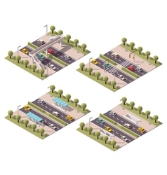 isometric pedestrian crossings set vector image