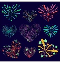 Festive patterned firework in the shape of a heart vector