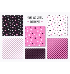 Set of pink patterns with stripes and stars vector
