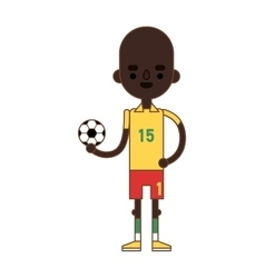 Little kid soccer boy playing with football sport vector