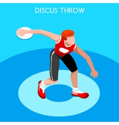Athletics discus throw 2016 summer games 3d vector