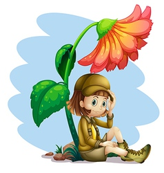 An adventurer under the shade of a flower vector image vector image