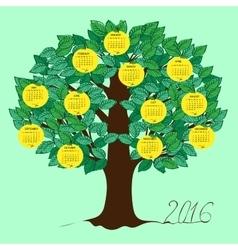 Apple calendar 2016 new year vector image