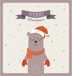 Christmas greeting card cute bear with scarf and vector image