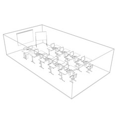 Computer class with tables and computers vector