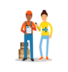 delivery man handing over a parcel to customer vector image
