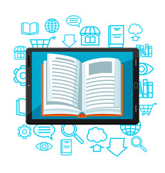 Digital library concept tablet with open book e vector
